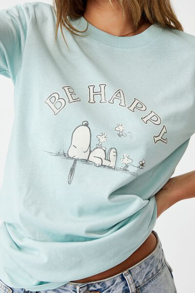 Classic Pop Culture T Shirt, LCN PEA SNOOPY BE HAPPY/HORIZON BLUE