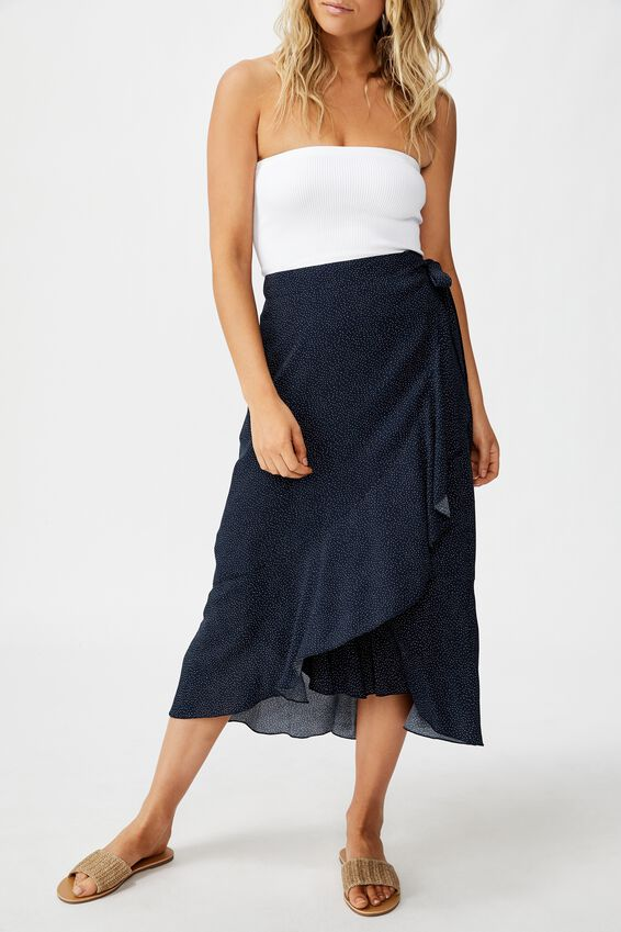 Ella Midi Skirt, ROSIE SPOT TOTAL ECLIPSE
