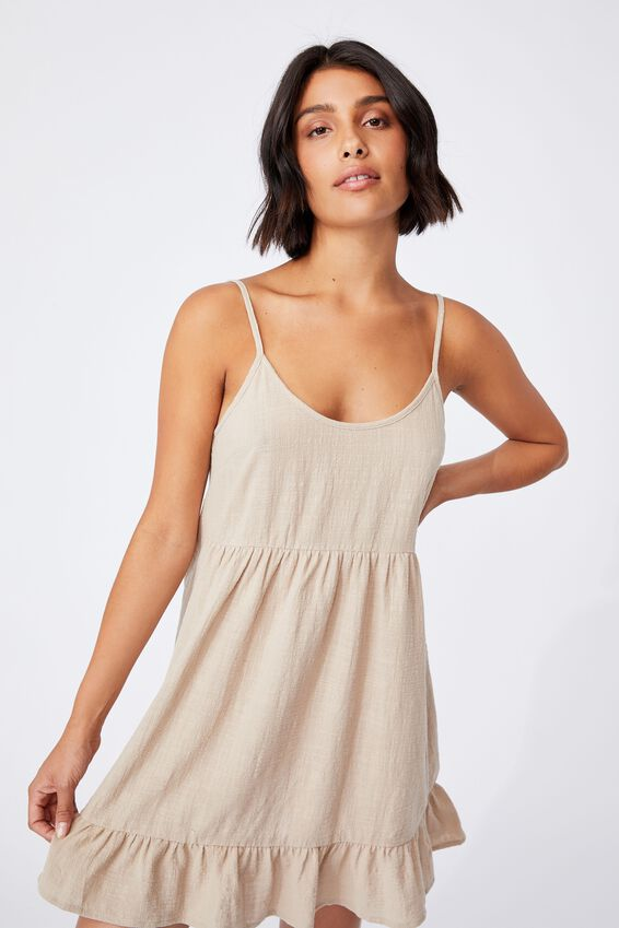 Woven Lucy Strappy Tiered Tunic, LATTE