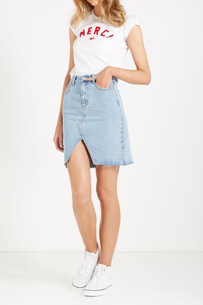 Denim Split Midi Skirt, VINTAGE BLUE