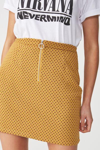 Gwen Zip Mini Skirt, RENE SPOT SPRUCE YELLOW/ROSEWOOD