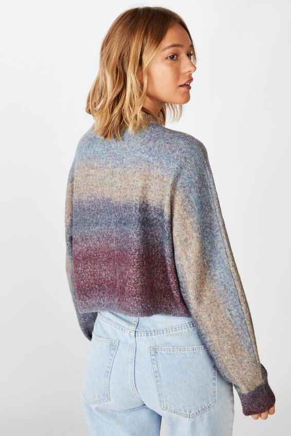 Serena Cropped Batwing Pullover, BLUE OMBRE
