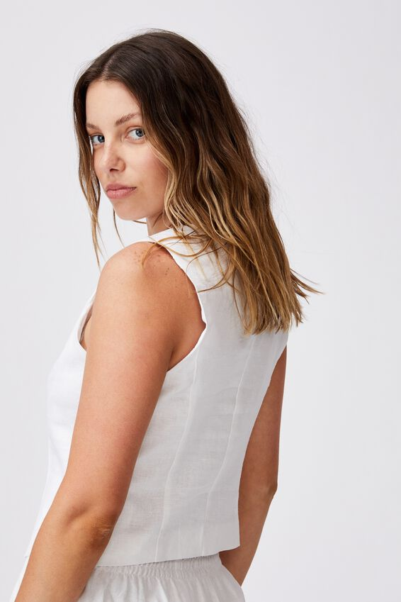 Ultimate Linen Crop Vest, WHITE