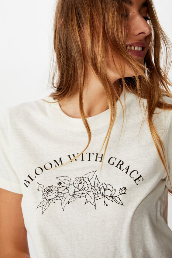 Tbar Cara Graphic Crop T Shirt, BLOOM WITH GRACE/GARDENIA
