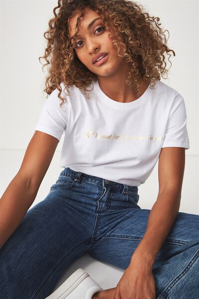 Tbar Fox Graphic T Shirt, LCN MARIAH CAREY ALL I WANT/WHITE