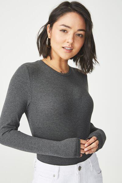 Baby Tee Long Sleeve Bodysuit, DEEP CHARCOAL MARLE