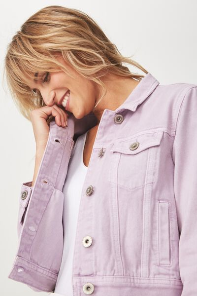 Girlfriend Fashion Denim Jacket, VIOLET SKY