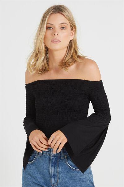Sheena Shirred Long Sleeve Off The Shoulder Top, BLACK