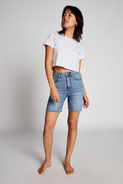 High Stretch Denim Bermuda Short, BOSTON BLUE