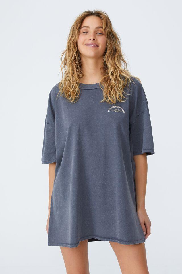 Oversized Graphic T Shirt Dress, VINTAGE MOTORS/EBONY