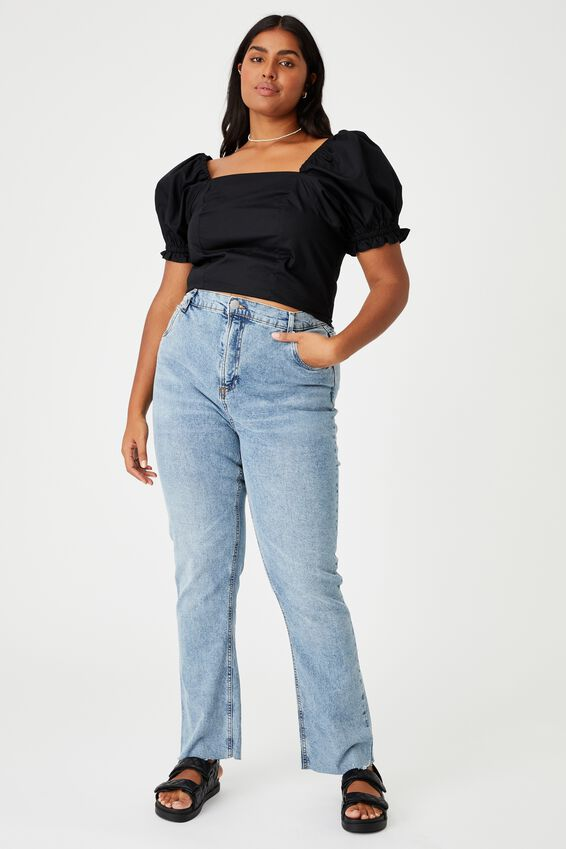 Curve Holly Woven Square Neck Top, BLACK
