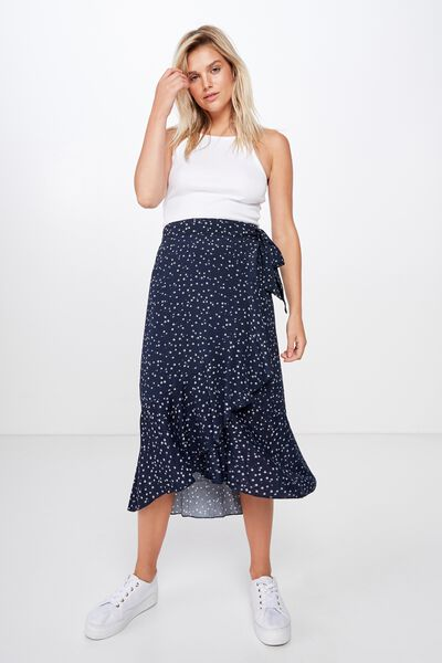 Woven Ella Midi Skirt, CARLY DITSY TOTAL ECLIPSE