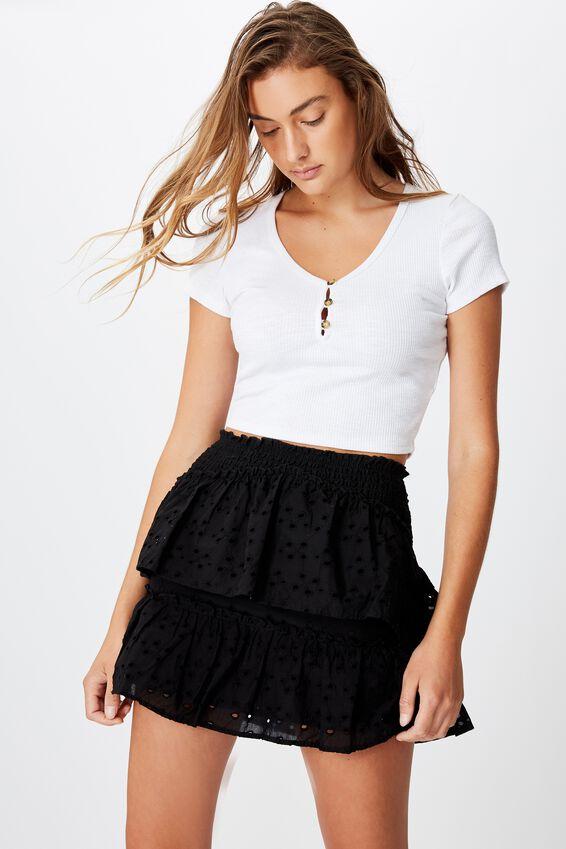 Ellie Broderie Mini Skirt, BLACK