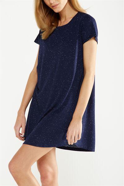 Tina Tshirt Dress 2, NAVY/WHITE NEP