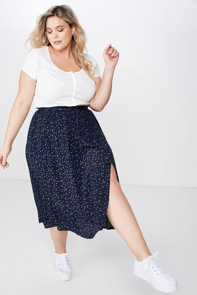 Curve Ella Midi Skirt, CARLY DITSY TOTAL ECLIPSE