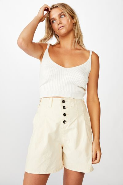 Pleated Utility Short, WINTER WHITE