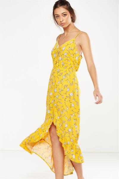 Woven Katrina Button Through Hi Low Maxi Dress, LOLA FLORAL SUNFLOWER