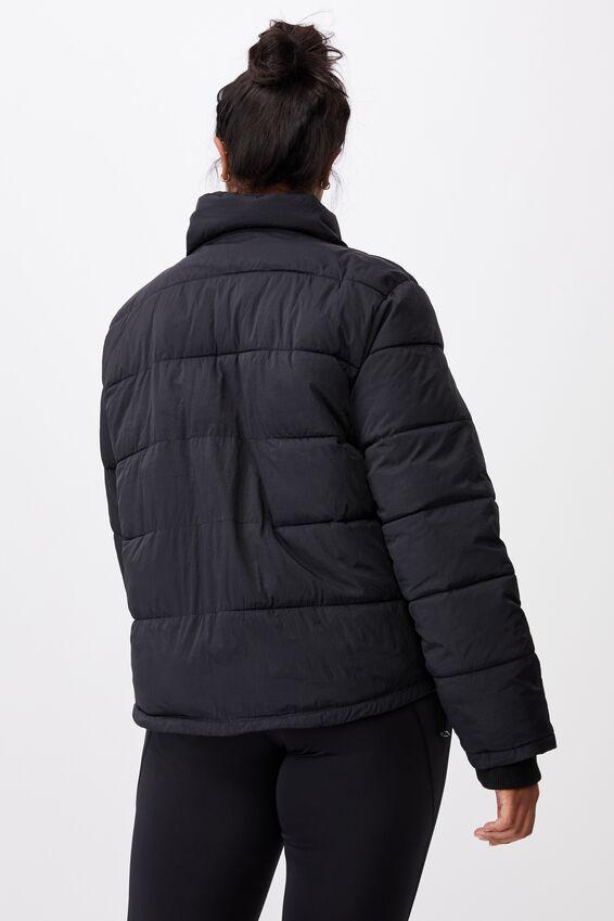 Curve Crinkle Puffer Jacket, BLACK