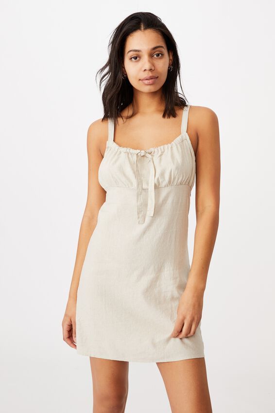 Woven Layla Tie Front Mini Dress, FAWN