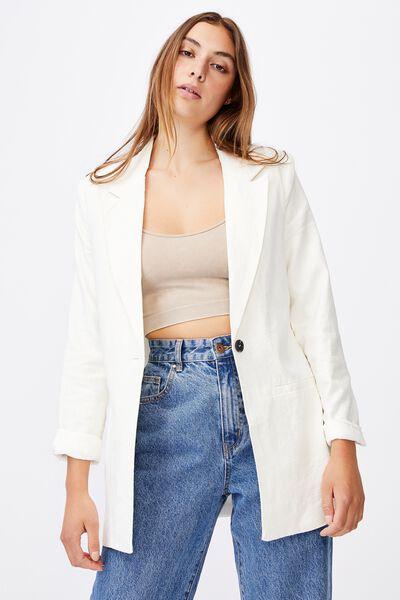 Ultimate Linen Blazer, CHALK WHITE