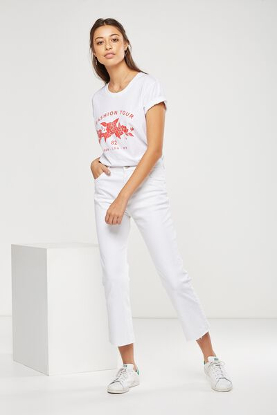 High Rise Kick Flare Crop Stretch Jean, WHITE