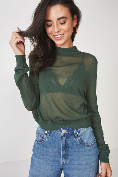 Alexis Sheer Cropped Mock Neck, JUNGLE GREEN