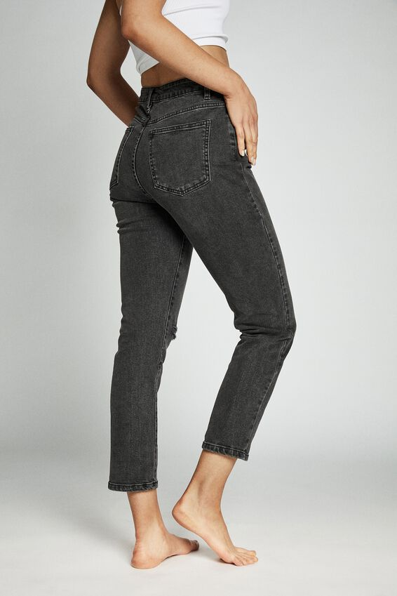 Stretch Mom Jean, SUPER WASH BLACK RIP