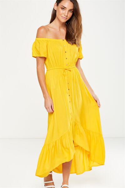 Woven Willa Off The Shoulder Dress, SUNFLOWER
