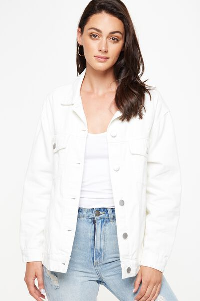 Boyfriend Trucker Denim Jacket, WHITE