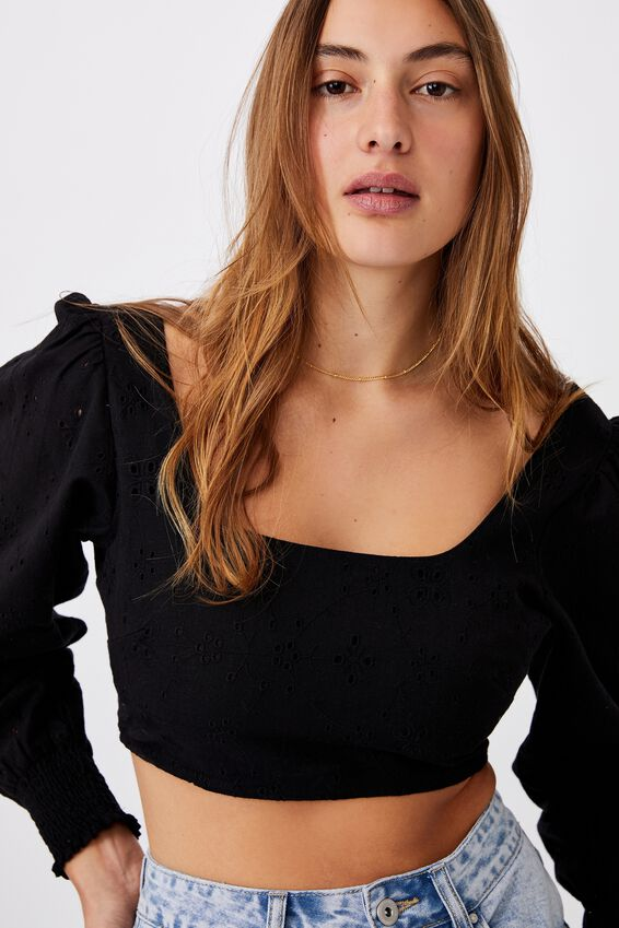 Co-Edit Long Sleeve Cropped Top, BLACK