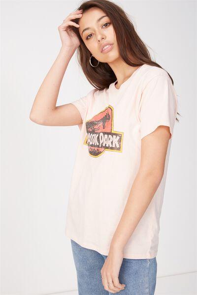 Tbar Fox Graphic T Shirt, LCN JURASSIC PARK CLASSIC LOGO/PINK SAND