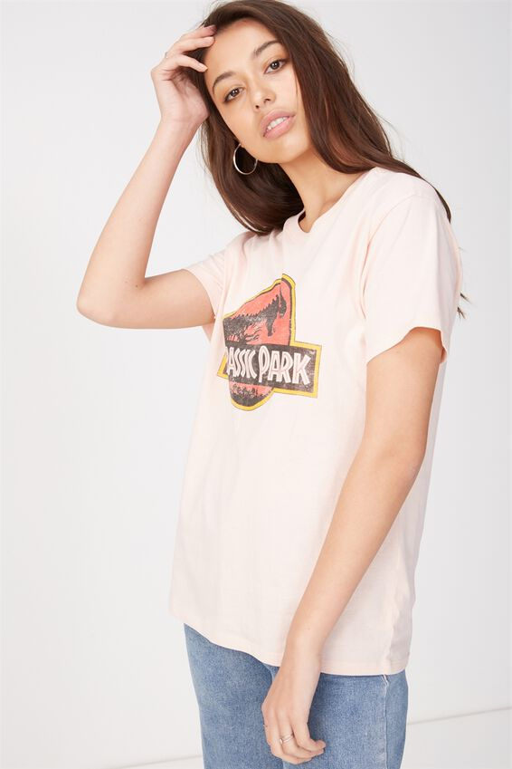 Jurassic Park Graphic T Shirt, LCN JURASSIC PARK CLASSIC LOGO/PINK SAND