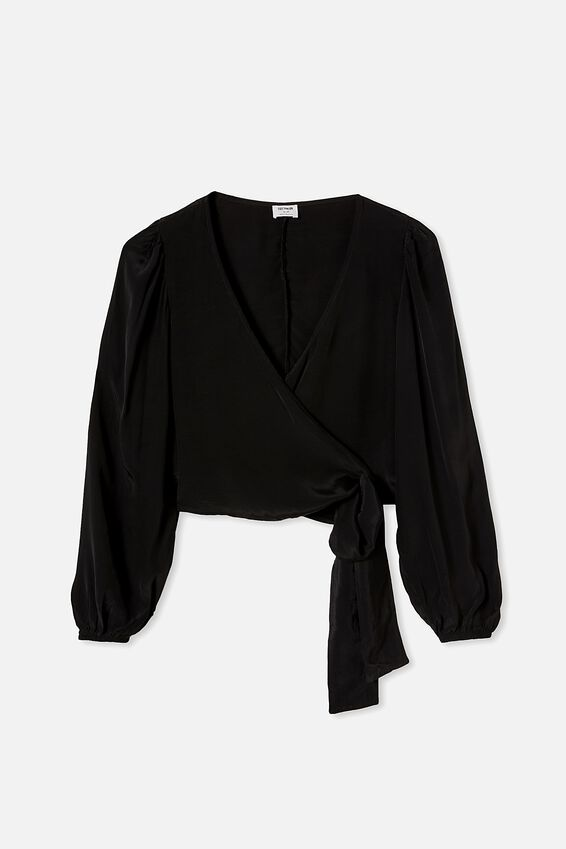Willow Puff Sleeve Wrap Blouse, BLACK