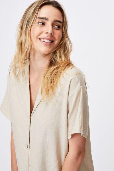 Woven Evie Shirt Mini Dress, LATTE