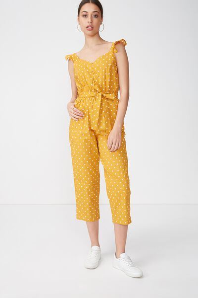 Woven Flo Tapered Jumpsuit, LENNY SPOT INCA GOLD