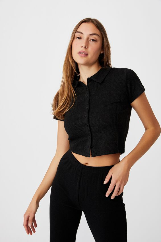 Carmel Textured Rib Short Sleeve Top, BLACK