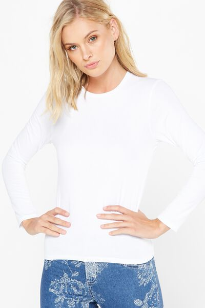 Basic Fitted Crew Long Sleeve Top, WHITE
