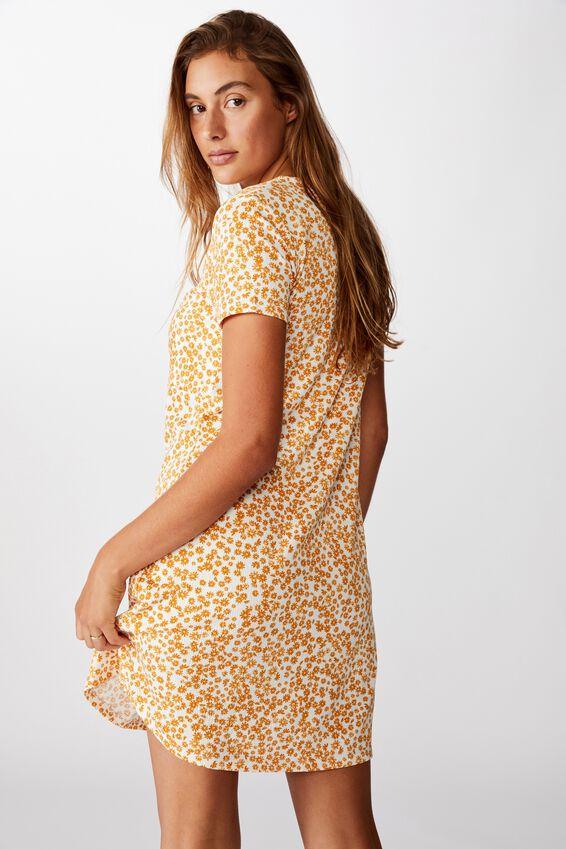Yasmine Gathered Short Sleeve Mini Dress, FRANKIE DAISY GARDENIA/GLAZED GINGER
