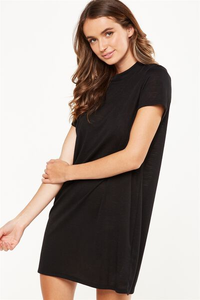 Daria Short Sleeve High Neck Dress, BLACK