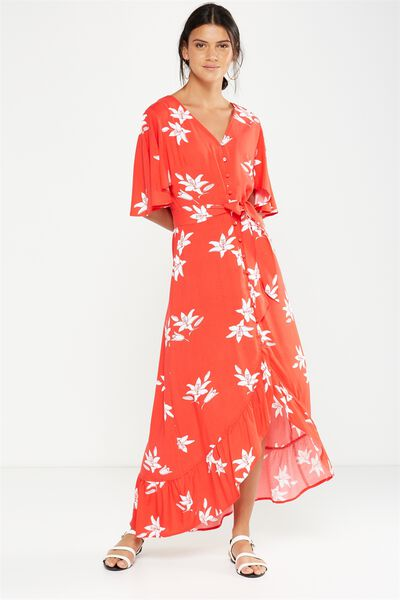 Woven Dallas Cape Sleeve Maxi Dress, JACINTA FLORAL BITTERSWEET