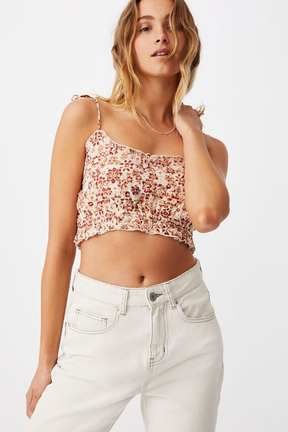 Broderie Cropped Cami, EMMA FLORAL WARM BRONZE