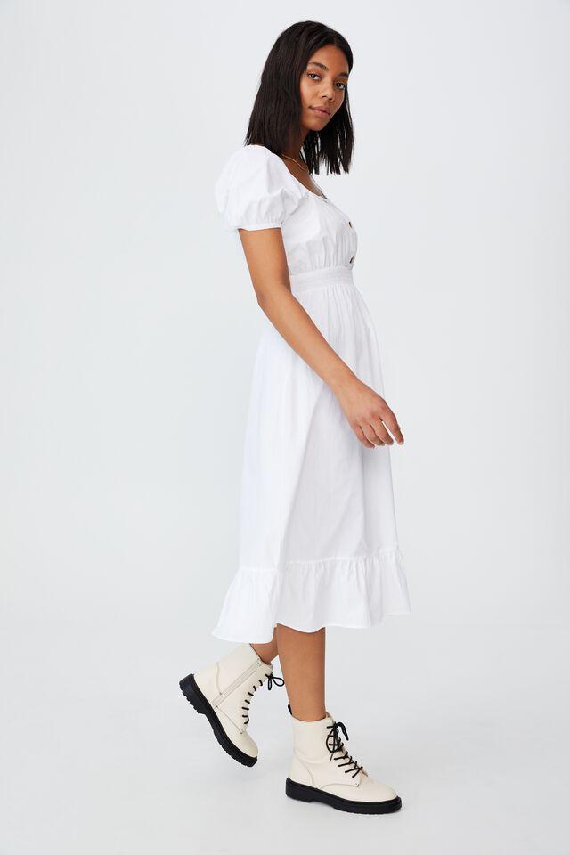 Woven Everly Short Sleeve Midi Corset Dress, WHITE