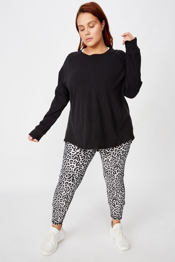 Curve Active Rib Long Sleeve Top, BLACK