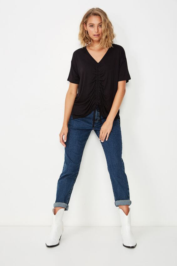 Ashleigh Extended Sleeve Rouched Tee, BLACK