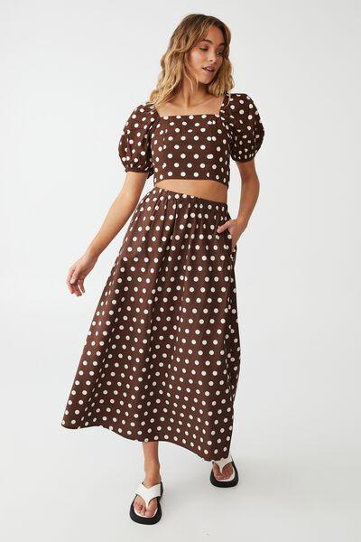 Woven Petite Lauren Maxi Skirt, HAYLEY SPOT ACORN