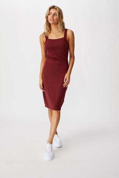 Lily Bodycon Dress, RED MAHOGANY