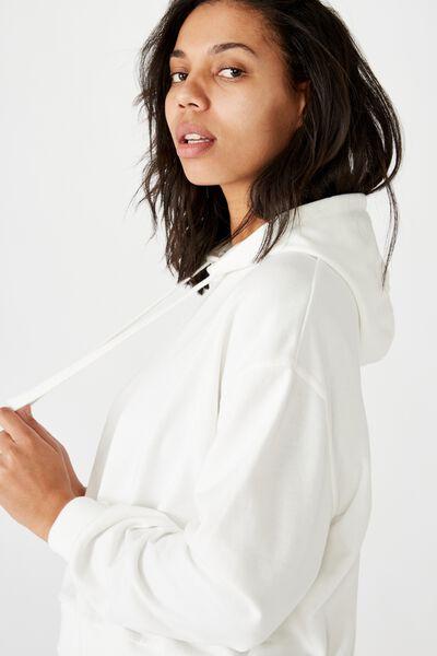 Harper Boxy Hoodie Graphic Fleece, WHITE