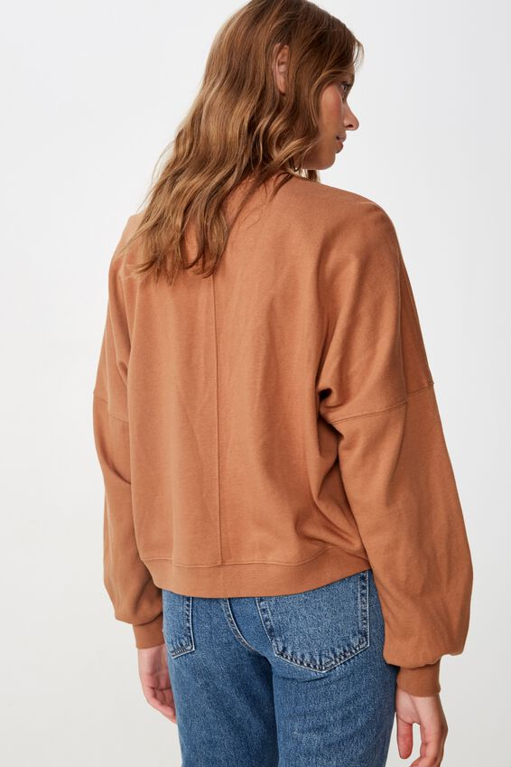 Harper Boxy Crew Graphic Fleece, LESS MONDAY/CARAMEL