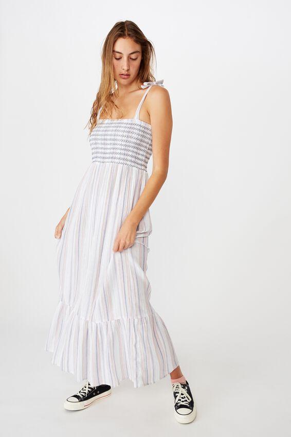 Woven Shae Shirred Midi Dress, STACEY MULTI STRIPE ROSE WINE