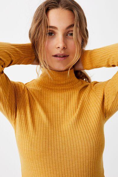 Mila Mock Neck Long Sleeve Top, GOLDEN MARLE